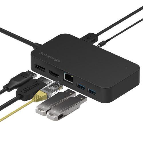 Blitzwolf BW-TH7: 7 az 1-ben: DC, USB, HDMI, Display, Jack, RJ45 portok