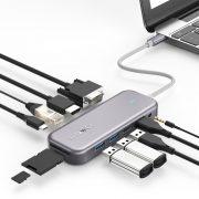 Blitzwolf BW-TH8 Hub 11 az egyben: 100W, USB 3.0 port, SD kártyaolvasó, 4K HDMI, VGA, Jack, LAN port
