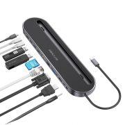 Blitzwolf BW-TH9 12 az 1-ben dokkoló állomás: USB 3.0 port, SD kártya olvasó, HDMI, VGA port, USB C töltőport, RJ45, Jack