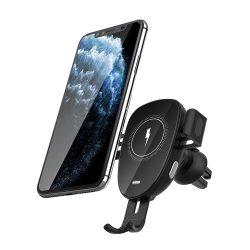 BlitzWolf® BW-CW2 - 15W vezeték nélküli gyorstöltő + autós telefon tartó - minden wireless charging (QI szabványt) támogató telefonhoz