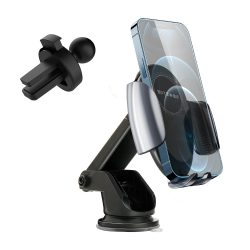 BlitzWolf® BW-CW3 - 15W vezeték nélküli gyorstöltő + autós telefon tartó - minden wireless charging (QI szabványt) támogató telefonhoz