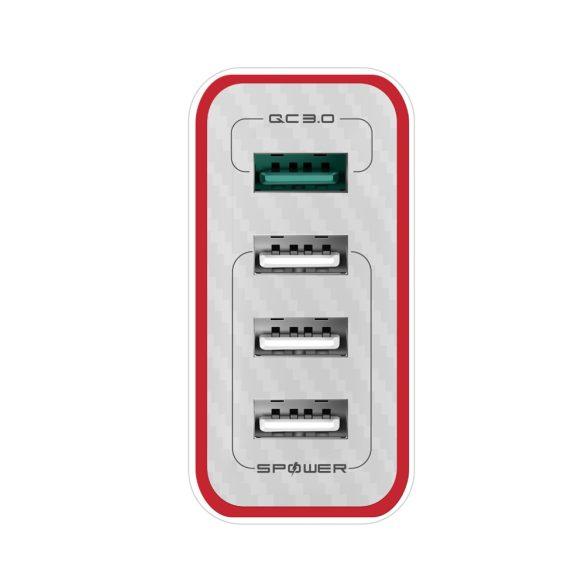 35W 4 portos 1x QC3.0 és 3x Power3S USB gyorstöltő - BlitzWolf® BW-PL5, gyorstöltés, egyedi tervezés, több rétegű védelem