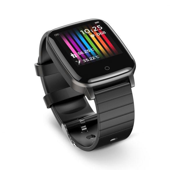 Blitzwolf® BW-HL1T Smart Watch - okosóra hőmérséklet, vérnyomás és pulzusmérővel - Fekete
