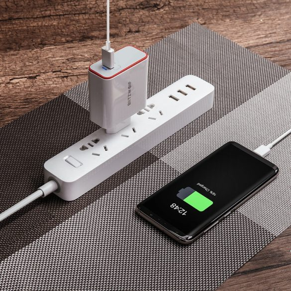 1-portos USB C, PD gyorstöltő - BlitzWolf® BW-PL4 45W 1-portos, PD / Power3S gyorstöltős, egyedi tervezés, több rétegű védelem