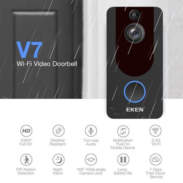 EKEN V7 1080P-Wifi Smart video kaputelefon App irányítással + beltéri csengő + akku + töltő