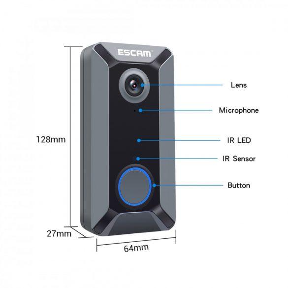 ESCAM V6 720P-Wifi Smart video kaputelefon App irányítással + akku + beltéri csengő
