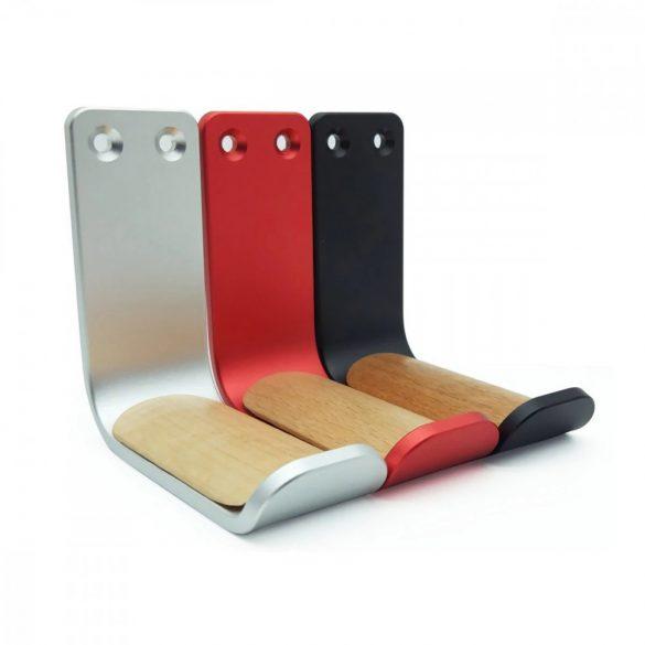 Fejhallgato tartó, falra szerelhető - aluminium - fekete, piros színben