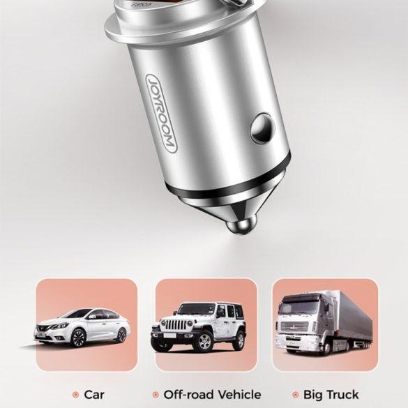 JOYROOM JR-C10 Autós töltő 45W; aluminium test, 2xQ3.0 gyorstöltő