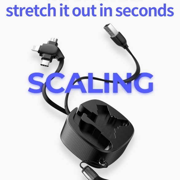 3 in 1: Lightning + Type C + Micro USB kábel - JOYROOM S-M366, visszahúzható, 1.2m, 3A
