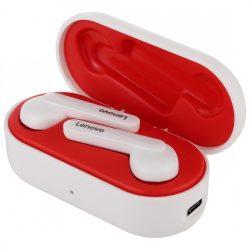 Lenovo HT28 Bluetooth V5.0 fülhallgató - tiszta hang, stílusos megjelenés, érintésvezérlés, IPX5 vízálló, zajcsökkentés. Fehér-piros