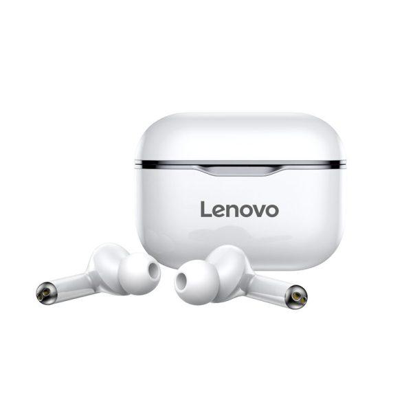 Lenovo LivePods LP1 TWS vezeték nélküli fejhallgató Bluetooth 5.0 kettős sztereó fülhallgató mikrofonnal A érintésvezérlés hosszú készenlétben 300 mAh IPX4 vízálló fejhallgató zajcsökkentő töltőtok