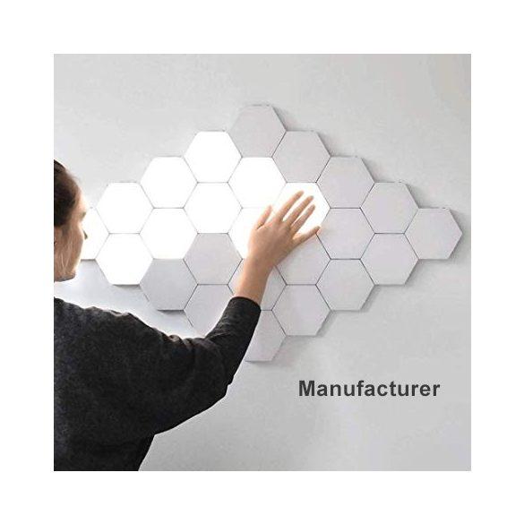 Ningbo Hexagon lámpa - 10 db-os, hatszög alakú, falra ragasztható, mágneses dekor/ éjszakai lámpa érintéses kapcsolóval. hideg fehér