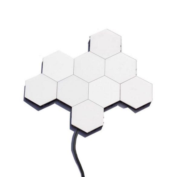 Ningbo Hexagon lámpa - 6 db-os, hatszög alakú, falra ragasztható, mágneses dekor/ éjszakai lámpa érintéses kapcsolóval. hideg fehér, 6db-os szett