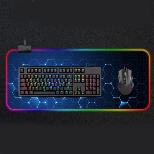 Vízálló RGB világítós egérpad - 14 féle fényhatással, méret: 800 x 300 x 4 mm (méhsejt)
