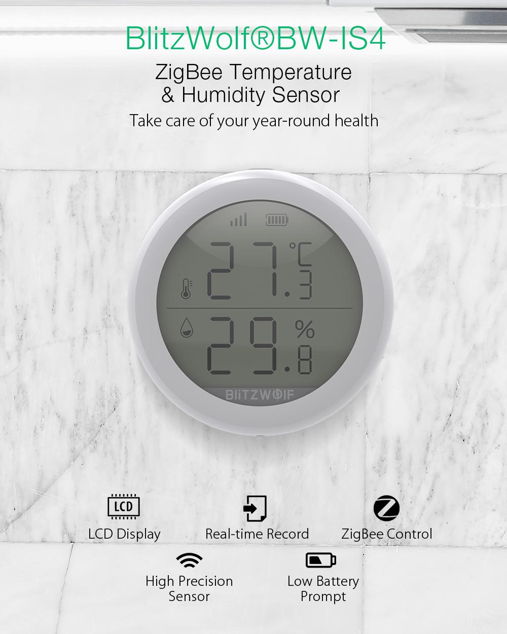 Blitzwolf BW-SI4 okos hőmérséklet és páratartalom érzékelő