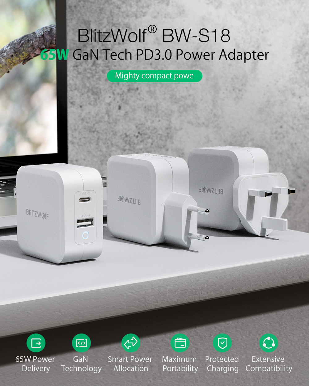 BlitzWolf® BW-S18: GaN Tech Quick Charger PD3.0