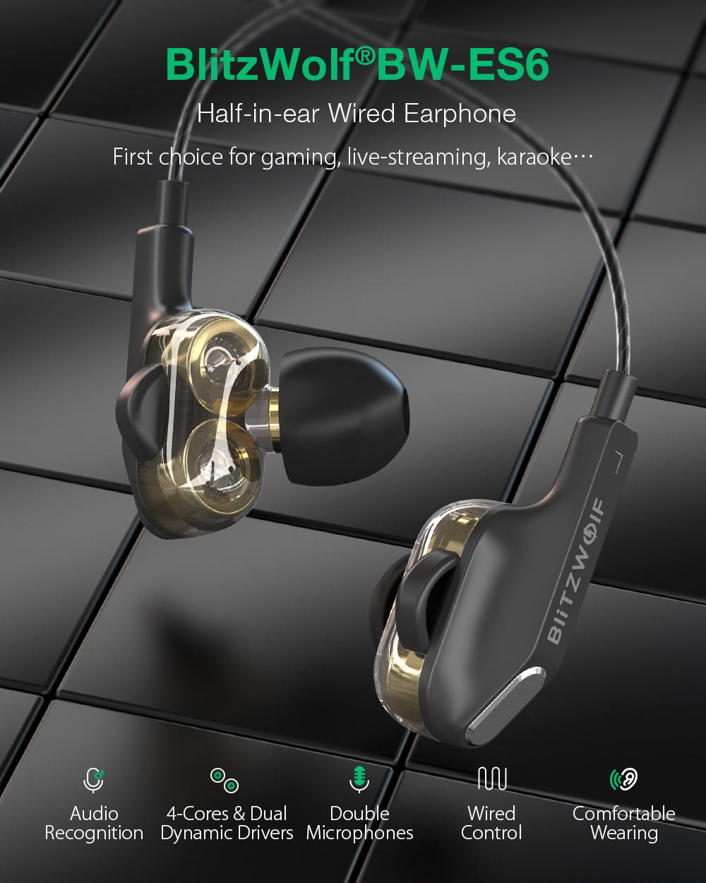 Blitzwolf BW-ES6 vezetékes headset