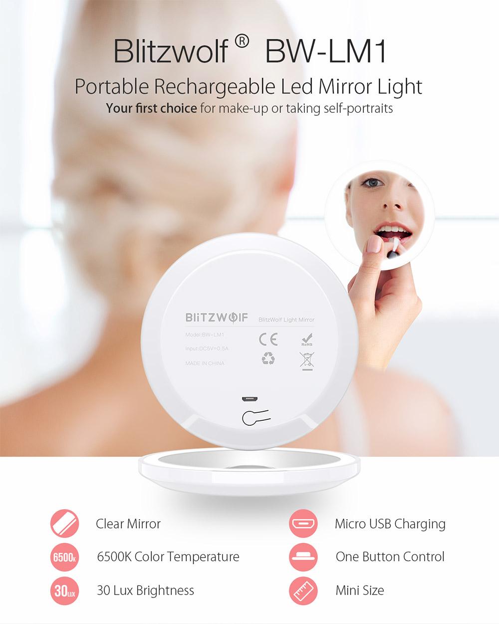 BlitzWolf® BW-LM1 - pipere tükör világítással