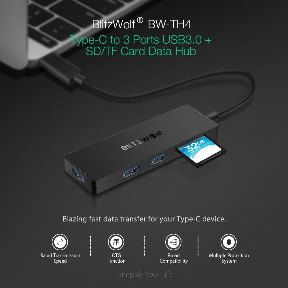 BlitzWolf BW-TH4 SD kártyaolvasó + 3x UBS3.0 Hub