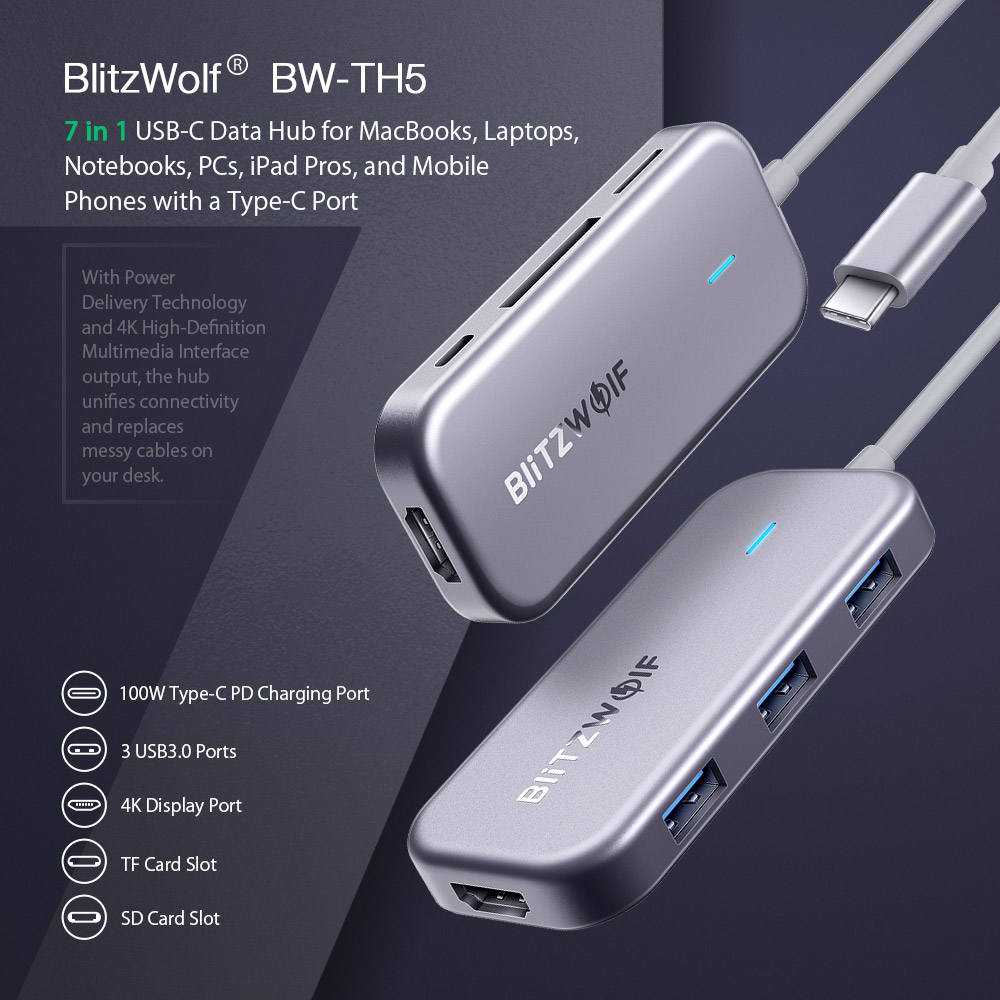 7 in 1 USB-C Data Hub BlitzWolf® BW-TH5 7 in 1 USB-C Data Hub for MacBooks, Laptops, Notebooks, PCs, iPad Pros, and Mobile Phones with a Type-C Port